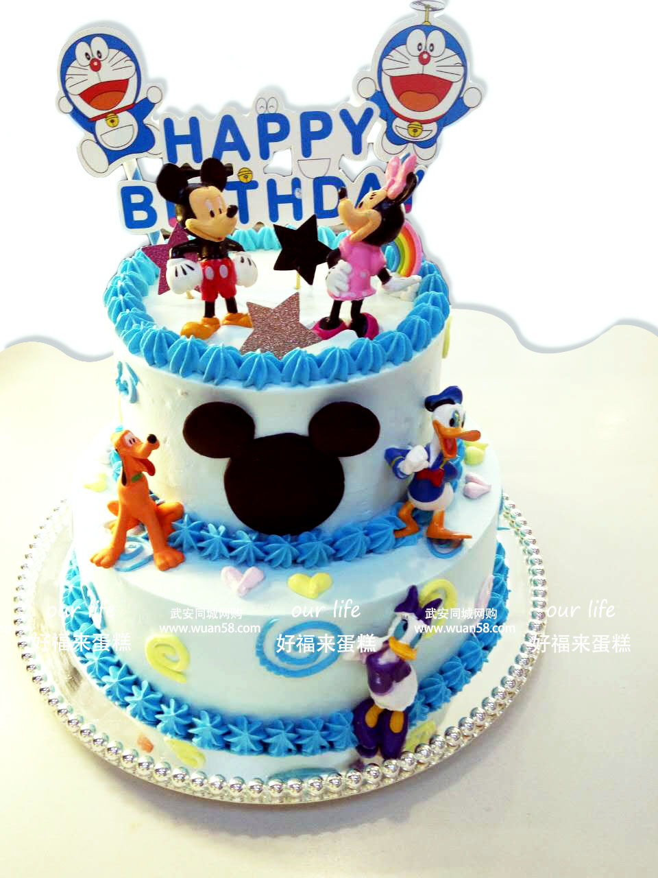 唐老鸭米老鼠 创意 双层_多层蛋糕_生日蛋糕_美食_市.